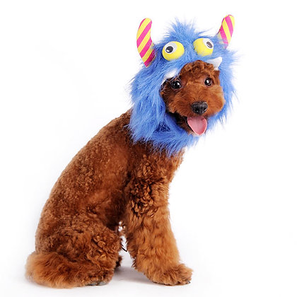 Furry Monster Dog Hat Blue