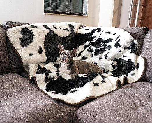 PupProtector Waterproof Throw Blanket Black Faux Cowhide