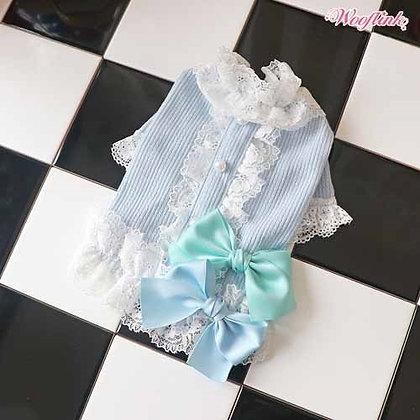 Romantic Dog Blouse Blue