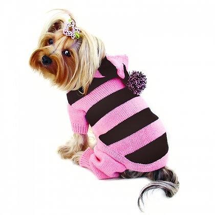 Stripy Hooded Bodysuit Dog Sweater