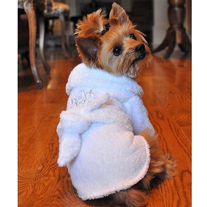 White Silver Tiara Cotton Dog Bathrobe