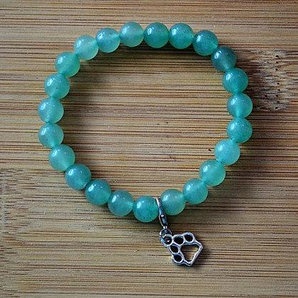 Green Aventurine Paw Charm Stretch Bracelet