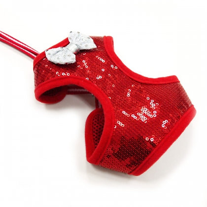 Easy Go Sequins Dog Harness Red