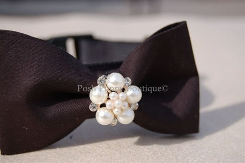 Couture Bow Tie Dog Collar Black and Pearls