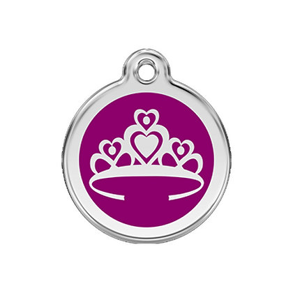 Stainless Steel and Enamel Purple Crown Dog ID Tag