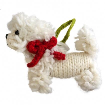 Hand Knit Dog Ornament Bichon Frise