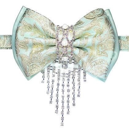 Powder Blue Brocade Bow Tie Pet Collar