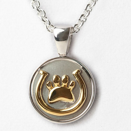 Sterling Silver 18k Yellow Gold Horseshoe and Paw Pendant
