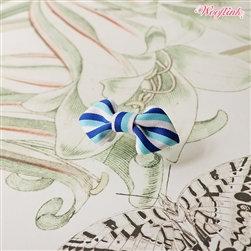 Mini Stripe Dog Hair Bow Blue