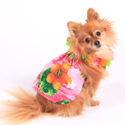 Lahaina Hawaiian Dog Dress Pink