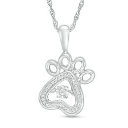 Diamond Accent Dog Paw Pendant Silver