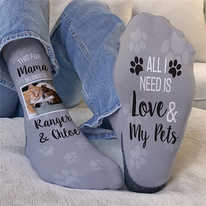 Personalized Fur Mama Crew Socks