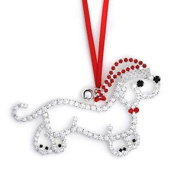 Crystal Dachshund in Santa Hat Christmas Ornament
