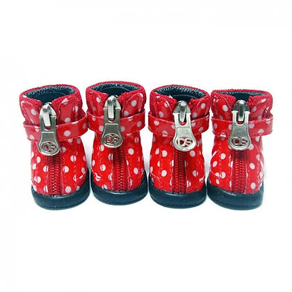 Polka Dot Dog Hiker Boots Red