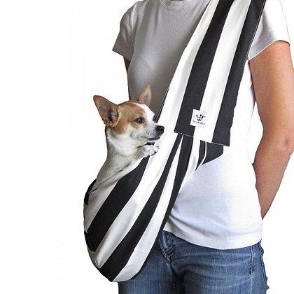 Black/White Strip Sling Dog Carrier