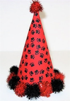 Red & Black Paws Dog Party Hat