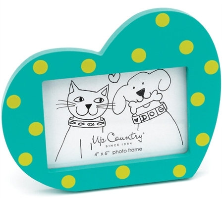 Hand-Painted Heart Picture Frame Aqua