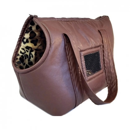 Brown Leather Carrier With Leopard Faux Fur