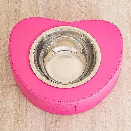 Bowl Me Over Leatherette Dog Bowl Pink