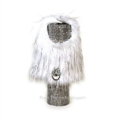 White and Silver Shag Faux Fur Dog Coat