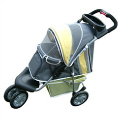 1st Class 3 Wheeled Pet Jogger Stroller Yellow & Green