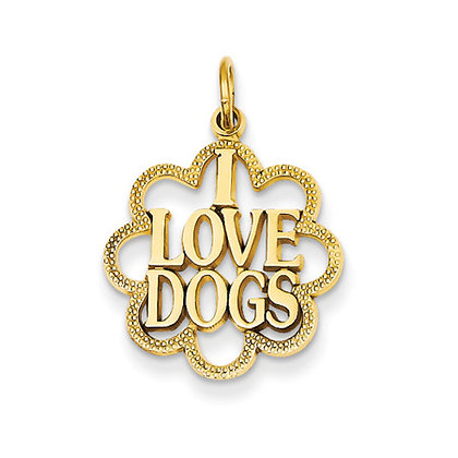 Yellow Gold I Love Dogs Scalloped Pendant