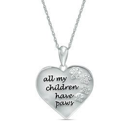 Diamond Accent Heart Paws Pendant Sterling Silver