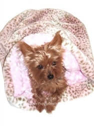 Pink Leopard Plush Cozy Sack Dog Bed