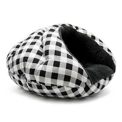 Burger Burrowing Dog Bed Checkers Black