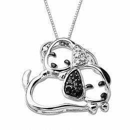 Black and White Diamond Accent 10K White Gold Pendant