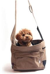 Canvas Pocket Bag Sling Dog Carrier Beige