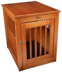 Medium Oak End Table Dog Crate