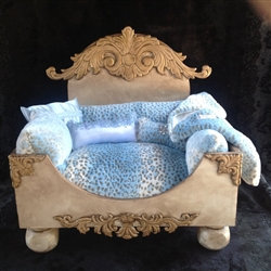Luxury Leopard Faux Fur Bed in Blue