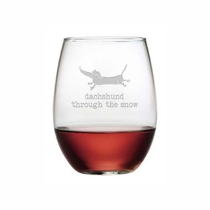 Dachshund Through Stemless Wine Glasses Set