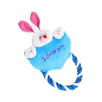 Heart Dog Rope Bunny Toy Blue