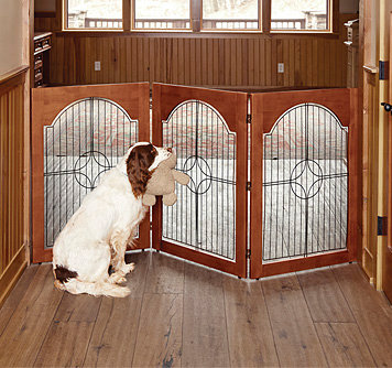 Wood and Wire Freestanding Dog Gate
