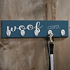 Personalized Woof Leash Hanger