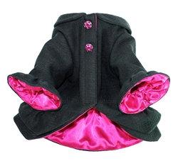 Ruffle Dog Coat Soft Black and Pink