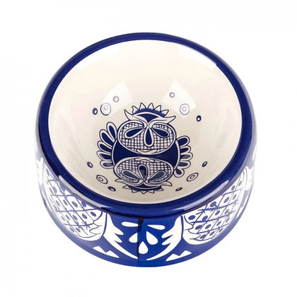 Ceramic Mexican Dog Bowl Blue & White