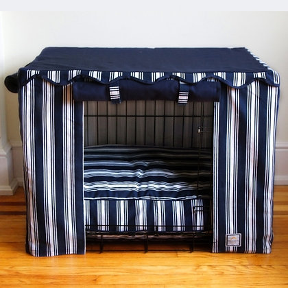 Nautical Stripe Dog Crate Cover