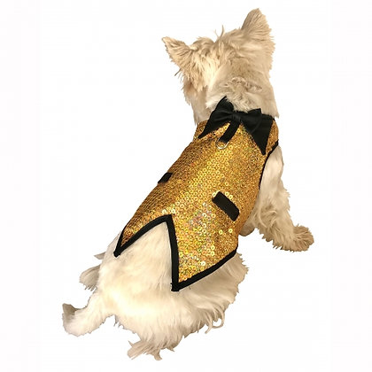The Gentleman's Dog Tuxedo Light Gold Sequins