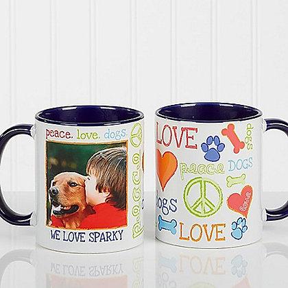 Peace, Love, Dogs Personalized Coffee Mug