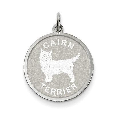 Sterling Silver Laser Etched Cairn Terrier Dog Pendant