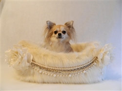 Coco Cream Luxury Faux Fur Dog Bed