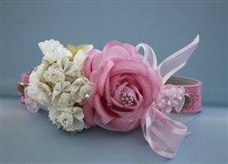 Couture Leather Rhinestone Flower Wedding Collar Pink/White