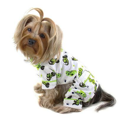 Playful Dinosaur Flannel Dog Pajamas