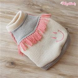 Tassel Fringe Dog Sweater Pink