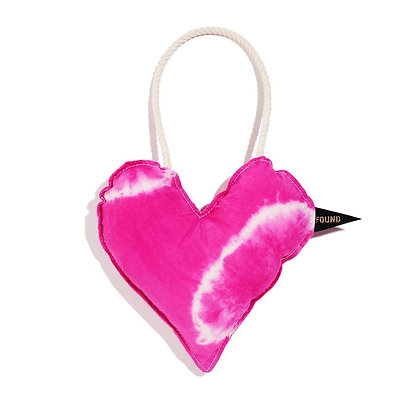 Pink Cotton Heart Dog Toy