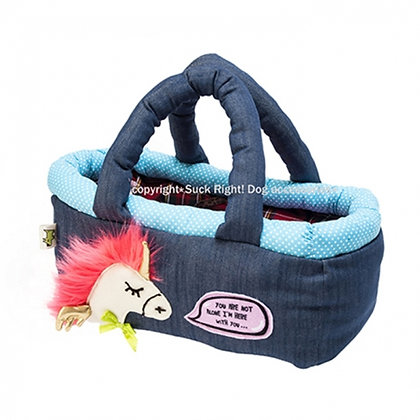 Neon Pink Hair Pony Basket Dog Carrier