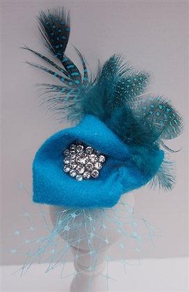 Turquoise Rhinestone Couture Dog Hat